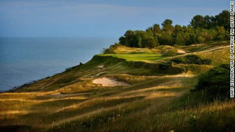 A view from the 17th hole of the Whistling Straits Golf Course.