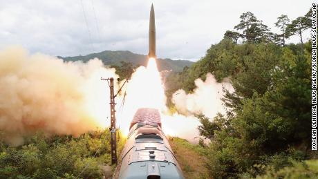 A missile test firing is launched from a train on Sept. 15, 2021 in an undisclosed location of North Korea.