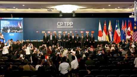 Ondertekeningsceremonie van de brede en progressieve overeenkomst over het trans-Pacifische partnerschap in Chili in 2018.