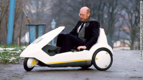 Clive Sinclair, pictured here driving the Sinclair C5 electric car in 1985, saw promise in all of his ideas, even the failed ones.