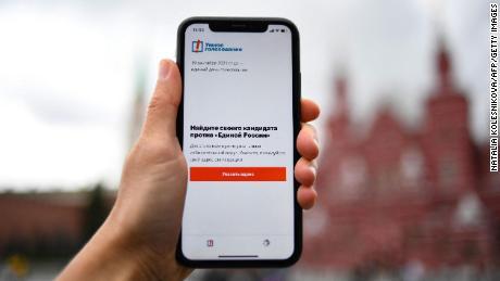 """& quot;  Navalny """"  L'application comprend des recommandations pour la stratégie de vote critique tactique au Kremlin."""