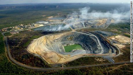 A grass fire burns at a uranium mine near Mt Brockman in the Kakadu National Park, Australia on September 1, 2004.