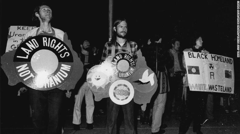 An anti-uranium demonstration at the Sydney Opera House on June 04, 1979.
