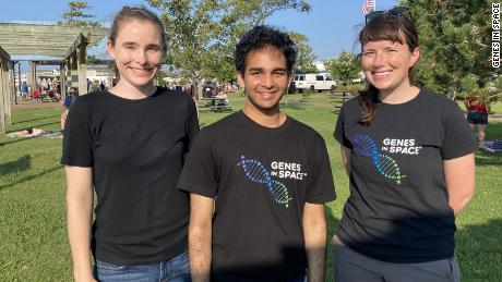 Kristoff Misquitta (center) is pictured with his mentors, Bess Miller (left) and Kate Malecek at the launch of his experiment into space on August 10, 2020.