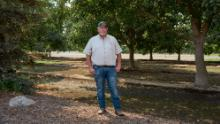Doug Verboon, the Kings County District 3 Supervisor, is photographed among walnut trees at his property in California's Central Valley.