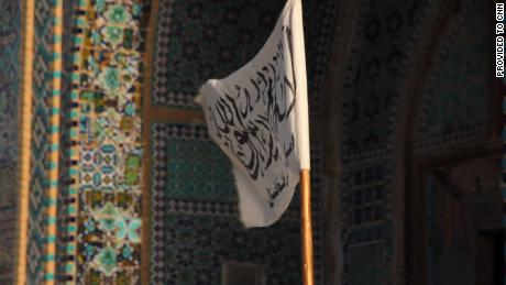 A Taliban flag flies outside of the Blue Mosque in Mazar-i-Sharif.