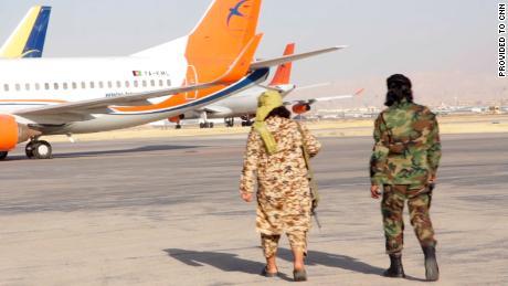 Taliban patrol Mazar-i-Sharif airport.