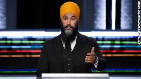 NDP Leader Jagmeet Singh speaks during the federal election English-language leaders debate in Gatineau, Quebec, on September 9, 2021.