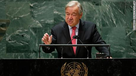 United Nations Secretary-General Antonio Guterres, who said vaccine inequality is an 'obscenity,' addresses the General Assembly.