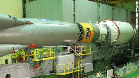 The launch of South Africa's SumbandilaSat on a Russian Soyuz rocket in Baikonur, Kazakhstan, in September 2009.