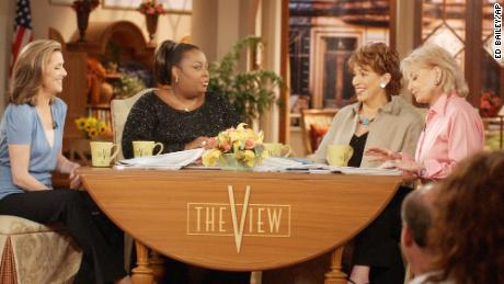 "Meredith Vieira, Star Jones, Joy Behar and Barbara Walters on the set of ""The View."""