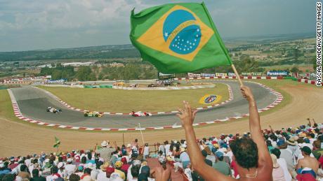 Brazil's Ayrton Senna at the South African Grand Prix at Kyalami in March 1993.