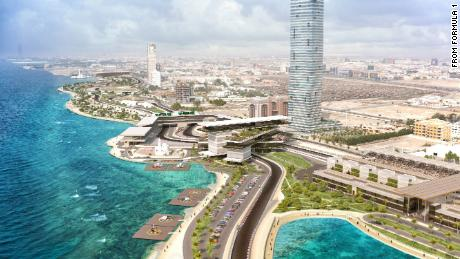 A rendering from Formula One shows the Jeddah Street Circuit looking north.