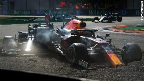 Red Bull's Max Verstappen and Lewis Hamilton of Mercedes, collide at the Italian Grand Prix, Monza.