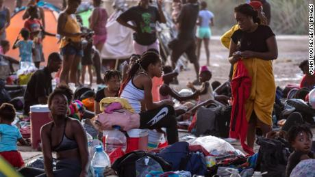 Thousands of Haitians gathered on the U.S.-Mexico border