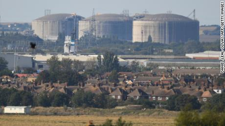 Liquefied natural gas storage tanks are seen at an import terminal in the south-east of England on September 21.