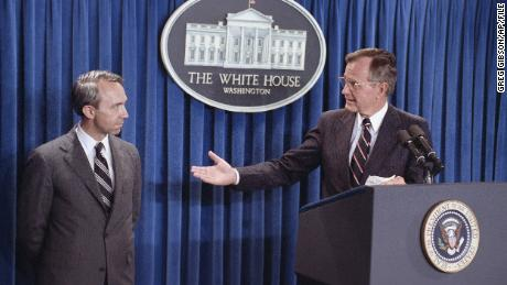 Pres. George H. W. Bush announces his nomination of appellate Judge David Souter to a seat on the Supreme Court on July 23, 1990.