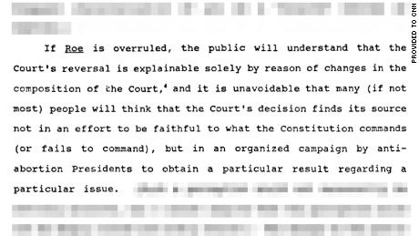 A passage from a memo written to Supreme Court Justice David Souter by one of his clerks on the question of whether Roe v. Wade should be overruled or preserved.