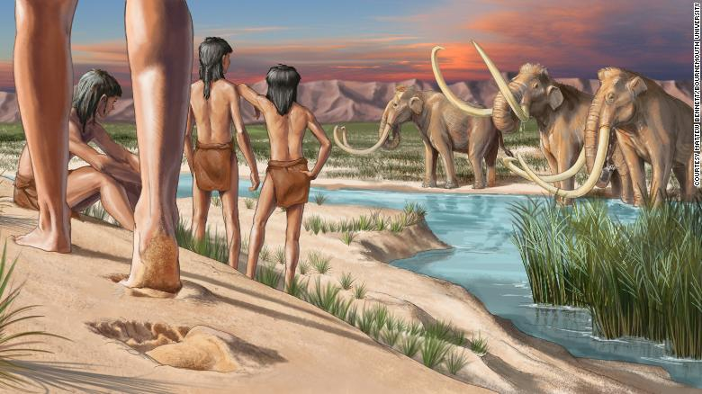An artist's impression of what the landscape would have looked like when the footprints were made.