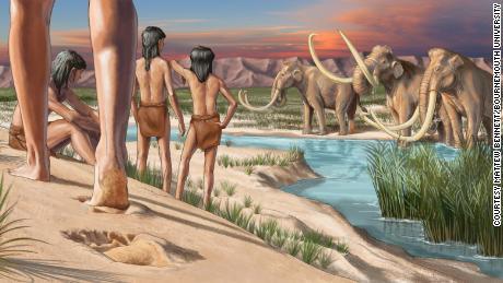 La impresión de un artista de cómo se vería el paisaje cuando se hicieran las huellas.