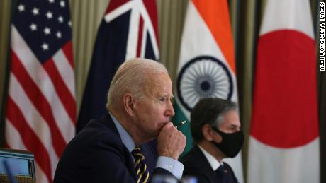 US President Joe Biden and US Secretary of State Antony Blinken participate in a virtual meeting with leaders of Quadrilateral Security Dialogue countries on March 12 in the White House.