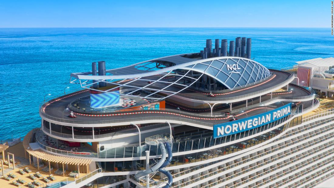 New cruise ship to feature world's first free-fall dry slide at sea and a three-level racetrack