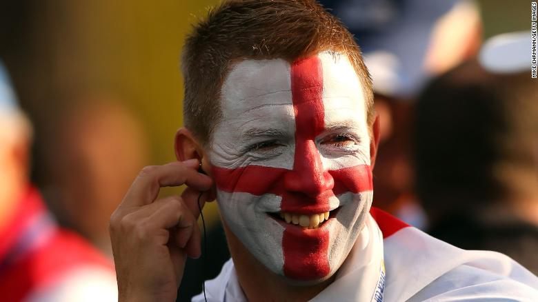 A European fan follows the play during the morning foursome matches at the 39th Ryder Cup.