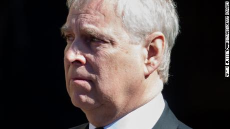 Prince Andrew, Duke of York looks toward the coffin of Prince Philip in April.
