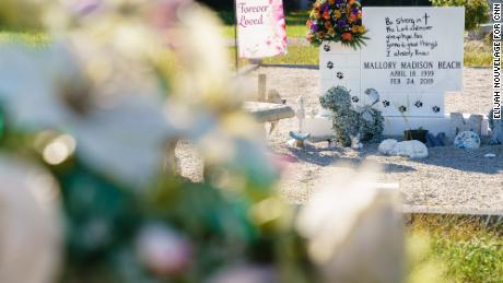 Mallory Beach's grave site is seen in the Sandy Run Baptist Church cemetery.