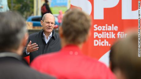 Olaf Scholz, German finance and SPD candidate for chancellor in the federal election, speaks at a campaign event in his constituency in Potsdam on Saturday.