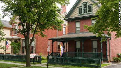 Susan B. Anthony Museum and House in Rochester, New York before the fire that damaged the back porch.