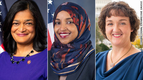 (From left) Rep. Jayapal, Rep. Omar and Rep. Porter are members of the Congressional Progressive Caucus.