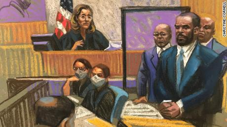 This sketch depicts the moment R. Kelly's guilty verdict was handed down in New York, September 27.