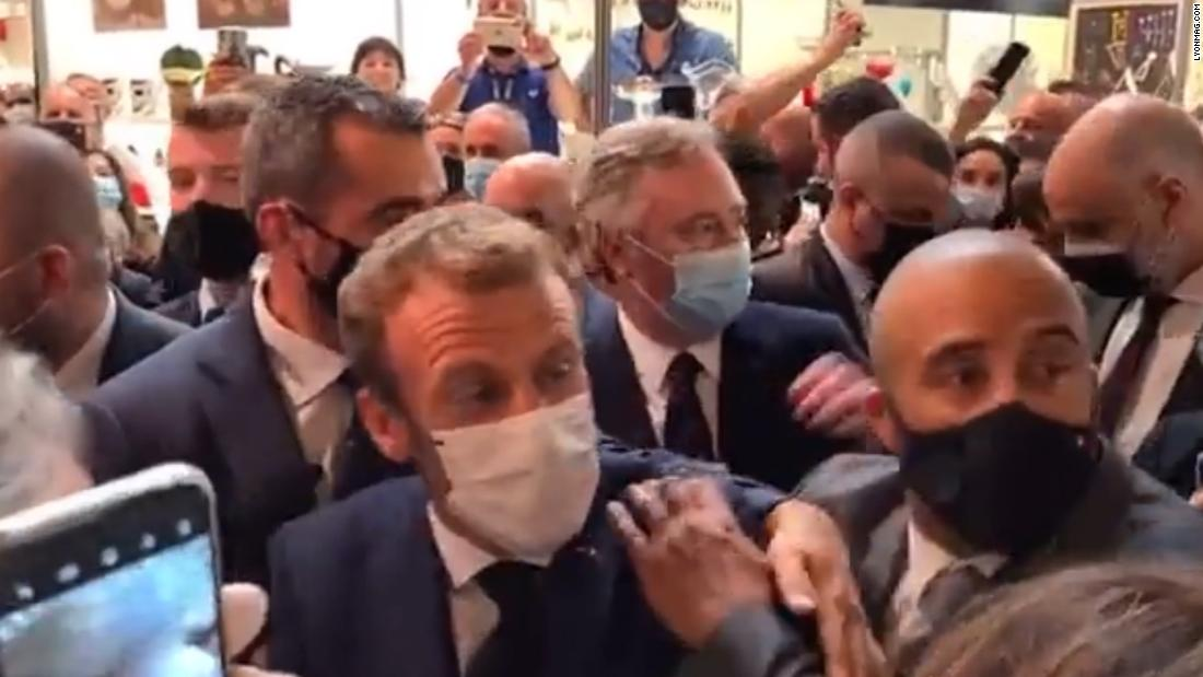 See moment Macron gets hit by egg thrown from crowd