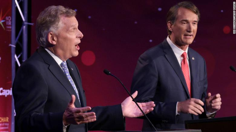 McAuliffe and Youngkin battle over Covid-19 vaccine mandates in Virginia governor's debate