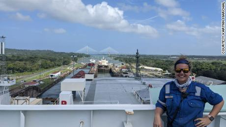 Chief Officer Karynn Marchal pictured aboard his ship in January 2021 in the Panama Canal.