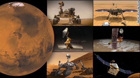 Esta ilustração mostra (no sentido horário do canto superior esquerdo) missões ativas da NASA em Marte: Persevere Rover, Innovative Mars Helicopter, Insight, Odyssey, MAVEN, Curiosity e Mars Exploration Rover.