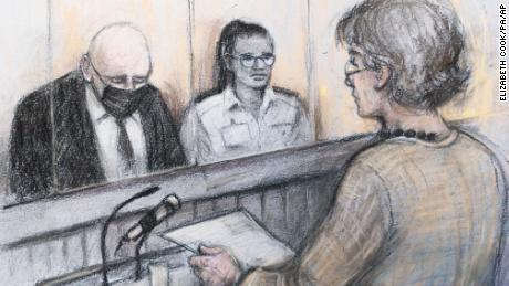 In this court sketch provided on September 29, Susan Everard, right, the mother of Sarah Everard, reads a victim impact statement as Wayne Couzens, left, sits in the dock.