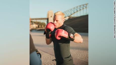 Stark training with coach Tanya in Sydney, the home of the World Gay Boxing Championships.
