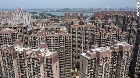 An aerial view of the Evergrande Changqing community on Sept. 26 in Wuhan, China.