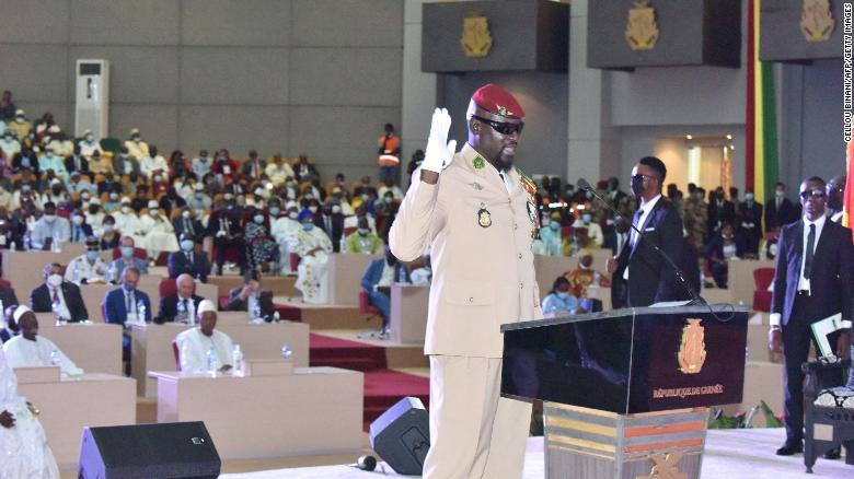 Guinea swears in coup leader Mamady Doumbouya as interim president