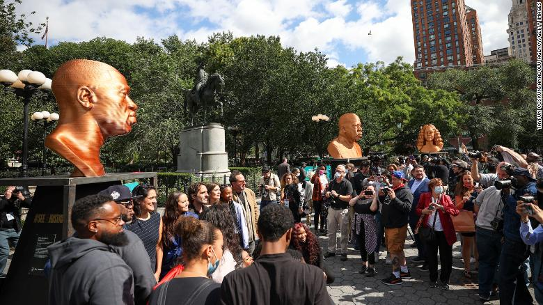Bronze busts honor Floyd, Taylor and Lewis in New York