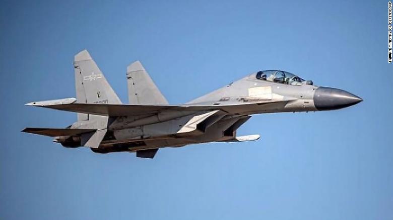 Bộ Quốc phòng Đài Loan đã công bố bức ảnh chụp máy bay chiến đấu J-16 của Trung Quốc khi họ thông báo rằng các máy bay của PLA đã đi vào vùng nhận dạng phòng không của họ.