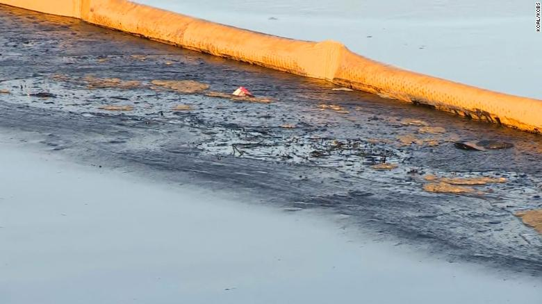 The oil has spread between Huntington Beach and Newport Beach, officials said.