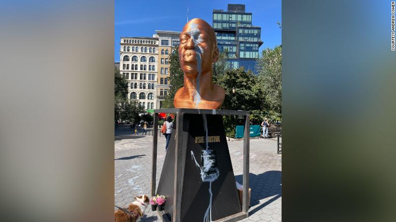 A bronze bust depicting George Floyd was defaced with grey, water-based paint on Sunday, Oct. 3, 2021.