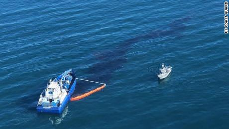 The breach occurred about five miles off the coast of Huntington Beach in Orange County