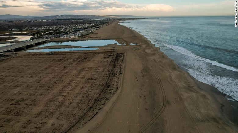 The recently cleaned beach in the affected area of the oil spill off the coast of Huntington Beach on Monday.