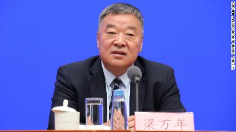 Liang Wannian, leader of the Chinese team working with the WHO at a July press conference in Beijing, China.