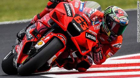 Bagnaia gareggia durante la gara motociclistica di San Marino al Misano World Circuit Marco-Simoncelli il 19 settembre 2021 a Misano Adriatico, in Italia.