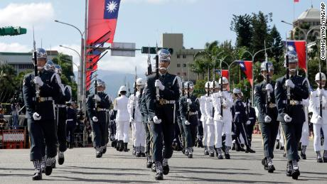 The military honor guard attends the National Day celebrations outside the Presidential Building in Taipei, Taiwan on October 10.